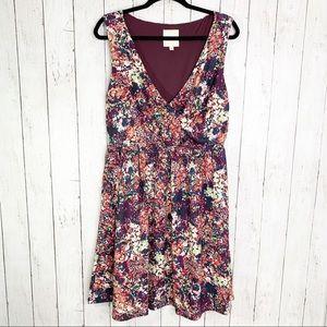 {ModCloth} Plum Floral Wrap Dress